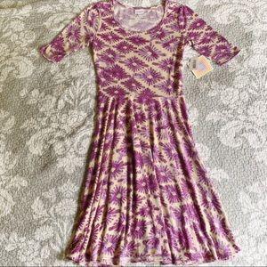 LuLaRoe Purple Cream Geo Floral Nicole Dress